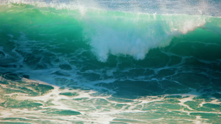 Full HD 1920x1080, 120 FPS to 23.98 slow motion close up video background of blue, turquoise water of big rough ocean surfing waves splashing and crashing tropical Hawaii beach, moving towards camera | Shutterstock HD Video #25484510