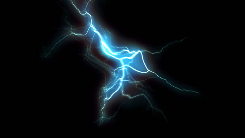 Blue white electrical discharge with black background