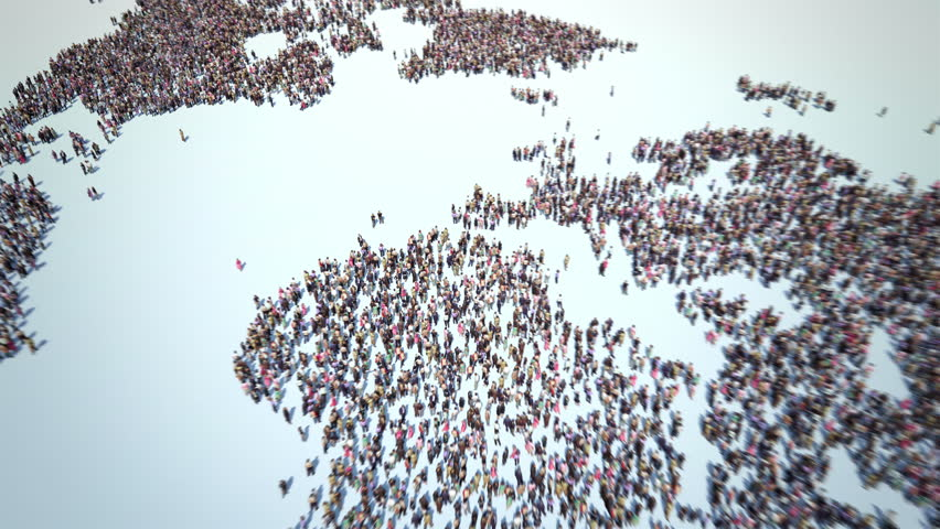 People of the World. Thousands of People formed the World Map. Crowd flight over. Camera zoom out.