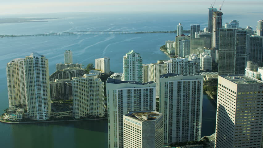 Miami, USA - February 2017: Aerial overhead view at sunrise of Downtown Brickell Key Waterfront Condominium resort Florida USA RED WEAPON | Shutterstock HD Video #25499873