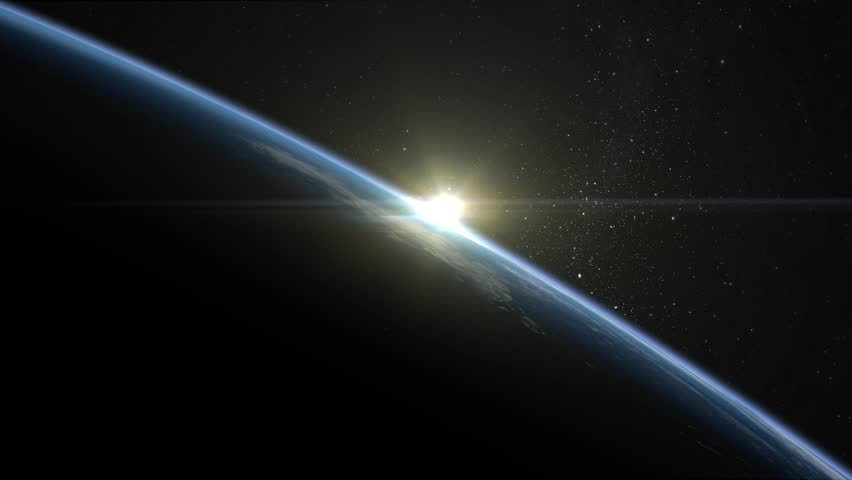 Sunrise over the Earth. Horizon littered to the left. Volumetric clouds. View from space. Beautiful starry sky. 4K.