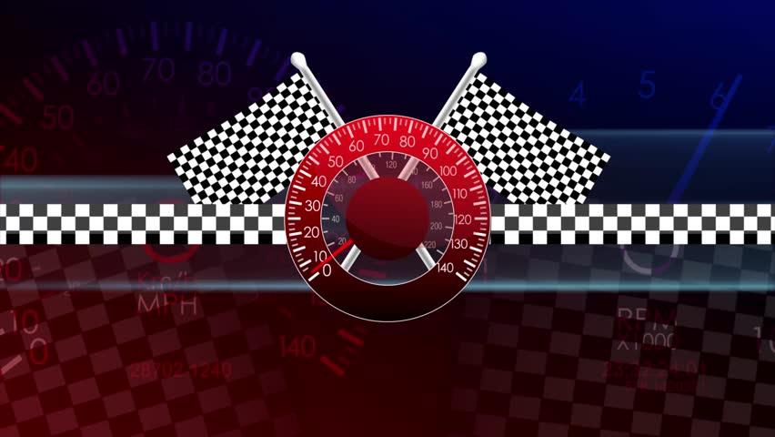 Loop-Ready Racing Flags Waving Speedometer Seamless Loop Motion Background