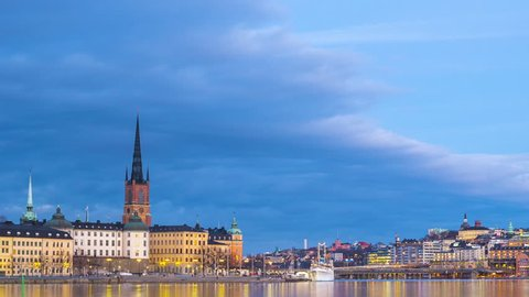 Time lapse of the island Riddarholmen (Sodermalm in the background) in central Stockholm at dusk.