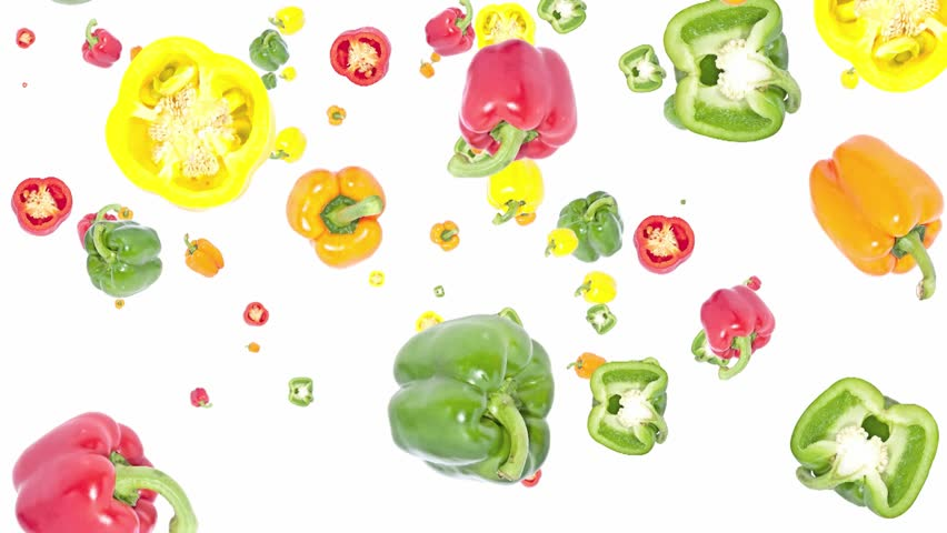 Bell peppers falling down on white background | Shutterstock HD Video #2555399
