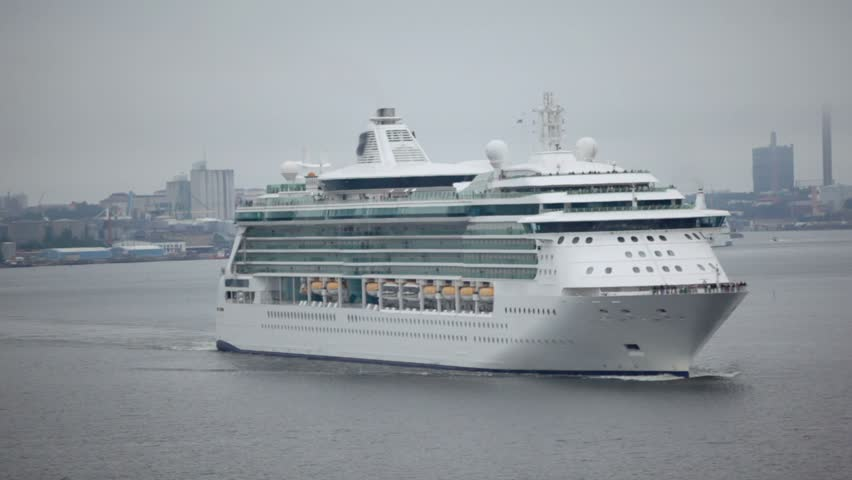 Huge passengers liners float from port near coastal city Stockholm