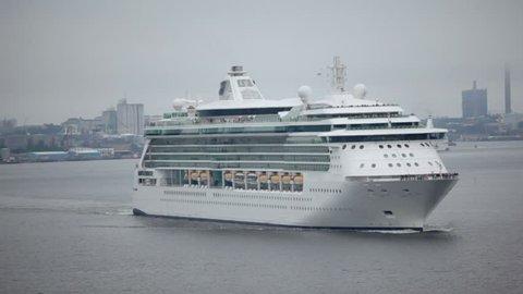 Huge passengers liners float from port near coastal city Stockholm
