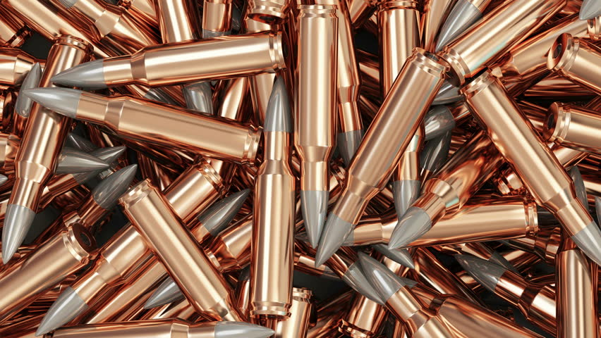 Seamless Looping 4K Animation of Heap of Rifle Bullets Background