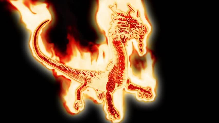 Huge Fiery Dragon Alpha Matte 3D Rendering Animation
