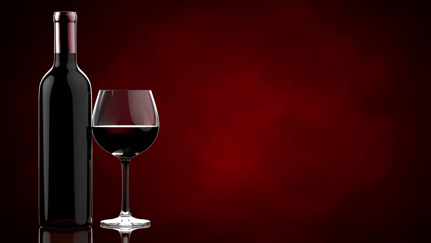 Red wine glass black background