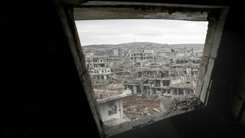 Syria war destruction from a window