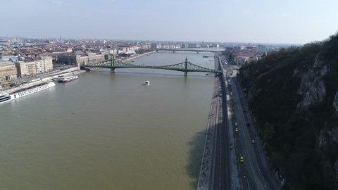 Aerial View Budapest Liberty Bridge over River Donau
