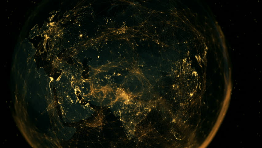 The digitally connected eastern hemisphere. 4K UHD broadcast quality animation. Seamless loop.   Shutterstock HD Video #25589879