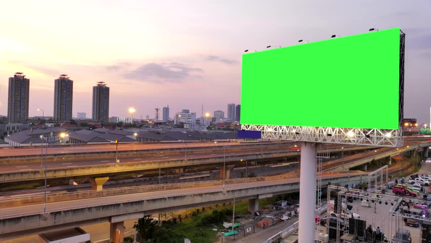 Green screen of advertising billboard and traffic on expressway of twilight in Bangkok, Thailand. time lapse. | Shutterstock HD Video #25591781