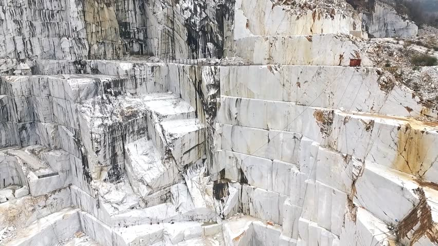 Aerial shot of Italian marble quarries. A beautiful view of the most famous caves in the world. | Shutterstock HD Video #25606787