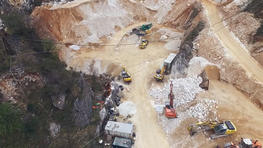 Aerial shot of Italian marble quarries. A beautiful view of the most famous caves in the world. | Shutterstock HD Video #25606805