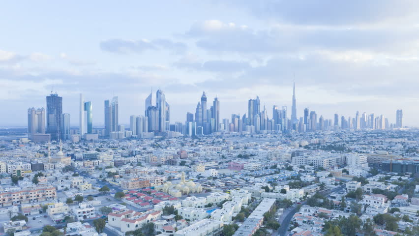 a skyline view of the new Dubai skyline of modern architecture and skyscrappers on Sheikh Zayed Road, Dubai UAE