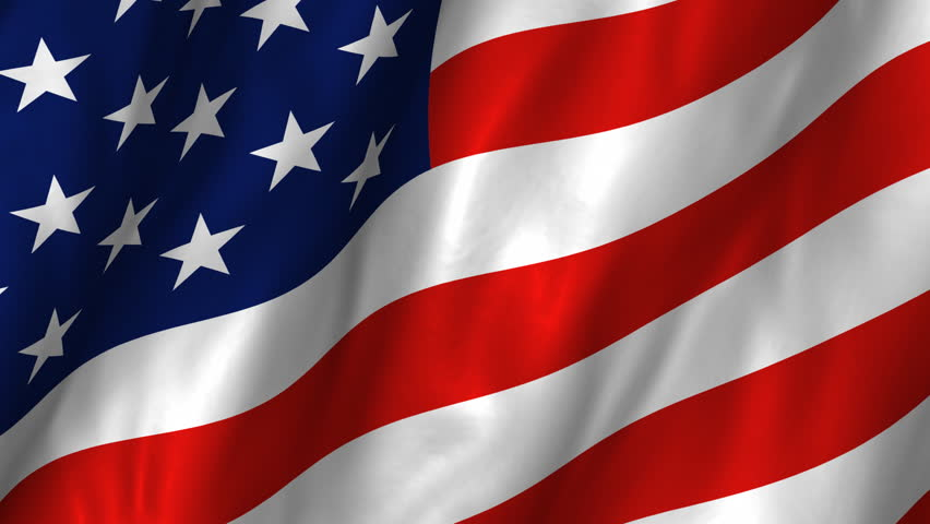 A beautiful satin finish looping flag animation of the USA.    A fully digital rendering using the official flag design in a waving, full frame composition.  The animation loops at 10 seconds.