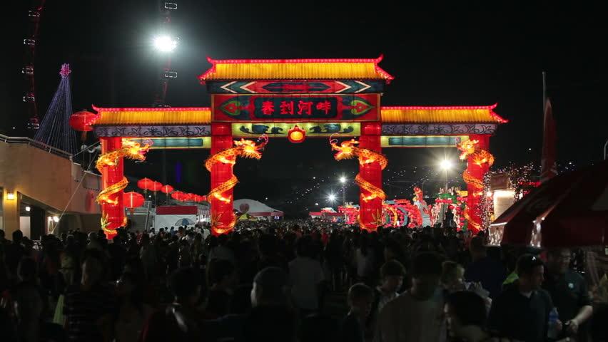 SINGAPORE - CIRCA MAY 2011: River Hongbao decorations for Chinese New Year celebrations at Marina Bay