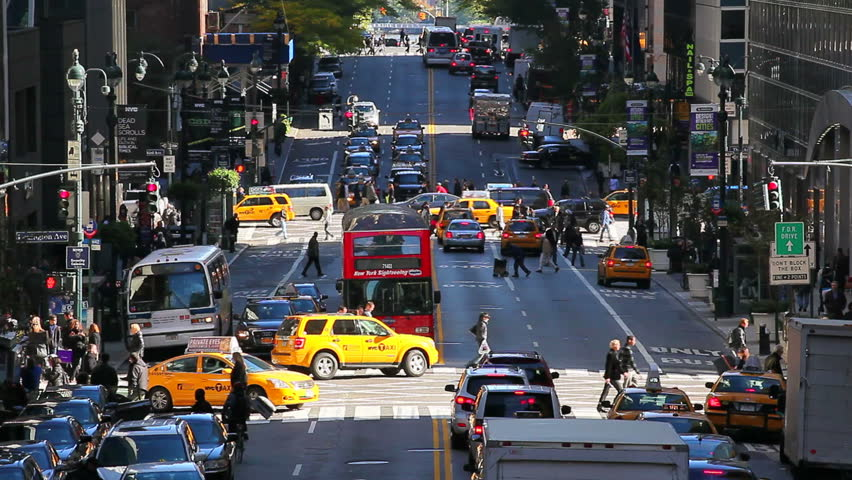 NEW YORK, NEW YORK - CIRCA MAY 2011: 42nd Street in Mid Town Manhattan with cars | Shutterstock HD Video #2566160