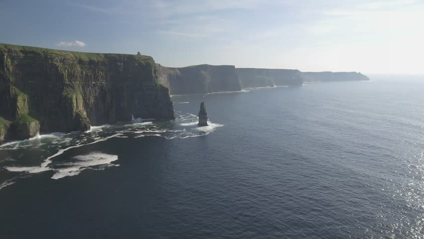 Aerial from Ireland countryside tourist attraction in County Clare. The Cliffs of Moher and Burren Ireland. Epic Irish Landscape Seascape along the wild atlantic way. Beautiful scenic nature Ireland | Shutterstock HD Video #25683908