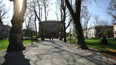 ZAGREB - APRIL 10, 2017: Zagreb Park in Spring, Croata