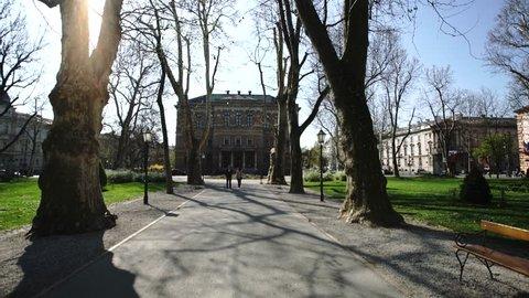 ZAGREB - APRIL 10, 2017: Zagreb in Spring, Park in zagreb city centre.