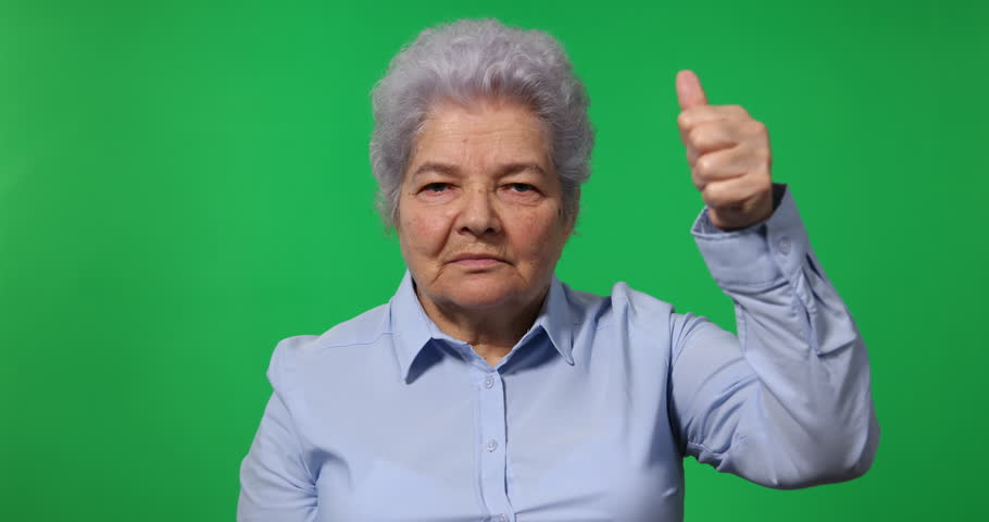 Elderly Woman Old Business Female Showing Thumb Up Sign Green Screen Background   Shutterstock HD Video #25698185