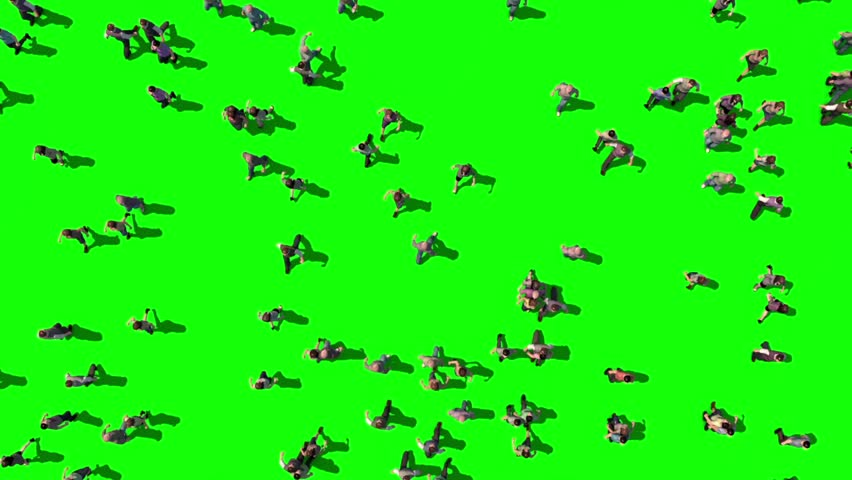 Crowd People Walking Green Screen Top 3D Rendering Animation