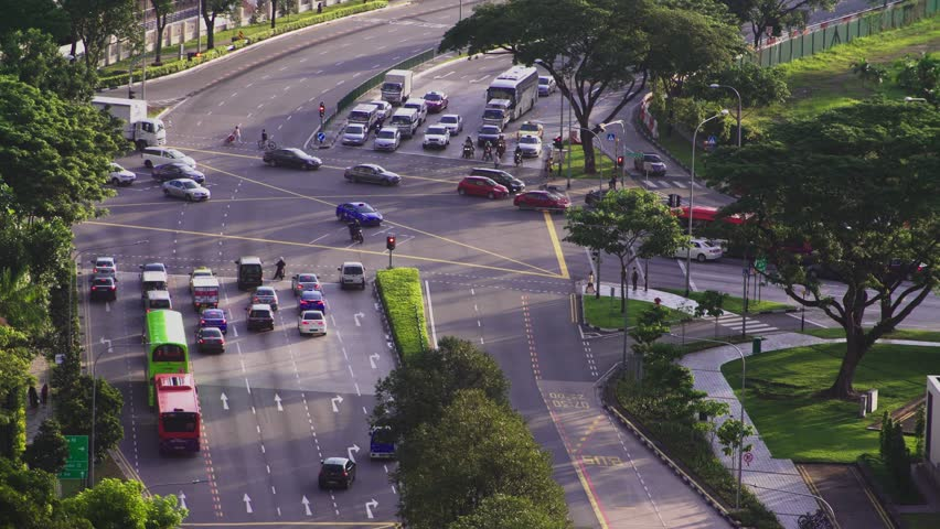 Singapore, March 26 2017: the view from the top on the road with heavy traffic | Shutterstock HD Video #25703030