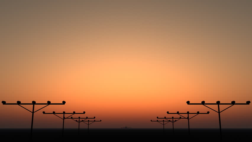 Silhouette of an airplane taking off during sunset.   Shutterstock HD Video #2570636