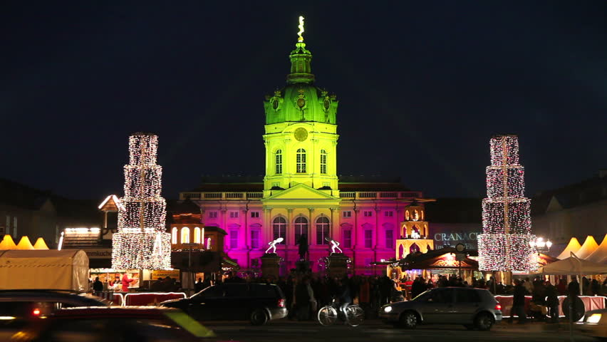 BERLIN, GERMANY - CIRCA MAY 2011: Christmas market at Schloss Charlottenburg, Charlottenburg Castle, illuminated at night