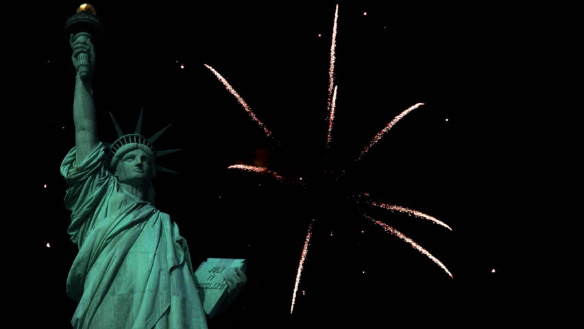 Statue of Liberty with fireworks in the background.   Shutterstock HD Video #2571485