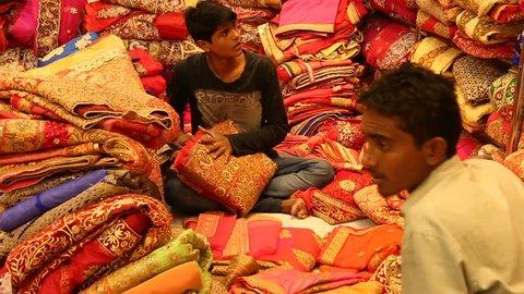 JAIPUR, Rajasthan, India – DEC, 2016: Sari Shop. Indian Traditional Women's Luxury Sari clothing on Market on Dec, 2016 in JAIPUR, India. Jaipur - center of Traditional eastern Handicrafts of India