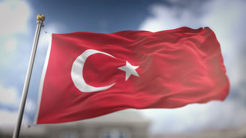 Turkey Flag Waving Slow Motion 3D Rendering Blue Sky Background - Seamless Loop 4K