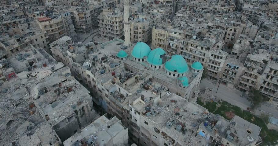 A drone filmed over the city of Aleppo in Syria | Shutterstock HD Video #25730798