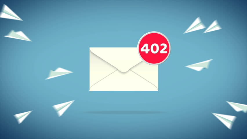 Cartoon animation of paper airplane flying into mail envelope until reaching it's limit and burst into many e-mails with social media and internet communication concept in 4k