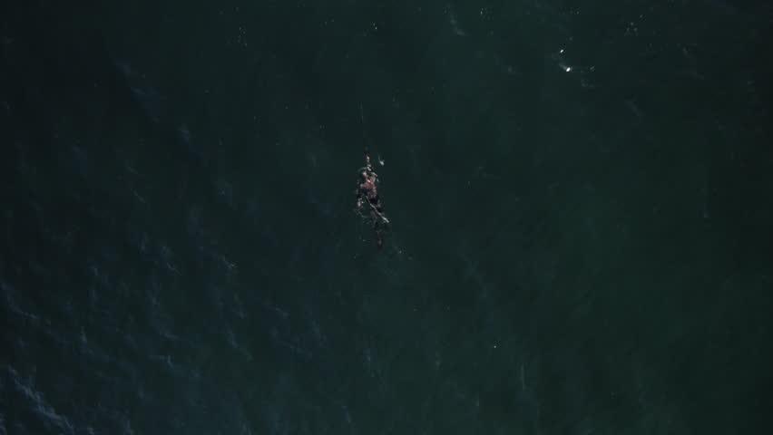 Spearfisherman swims in ocean, aerial | Shutterstock HD Video #25740704