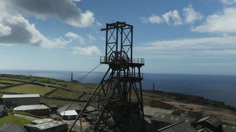 Aerial, Levant mine on coast of UK