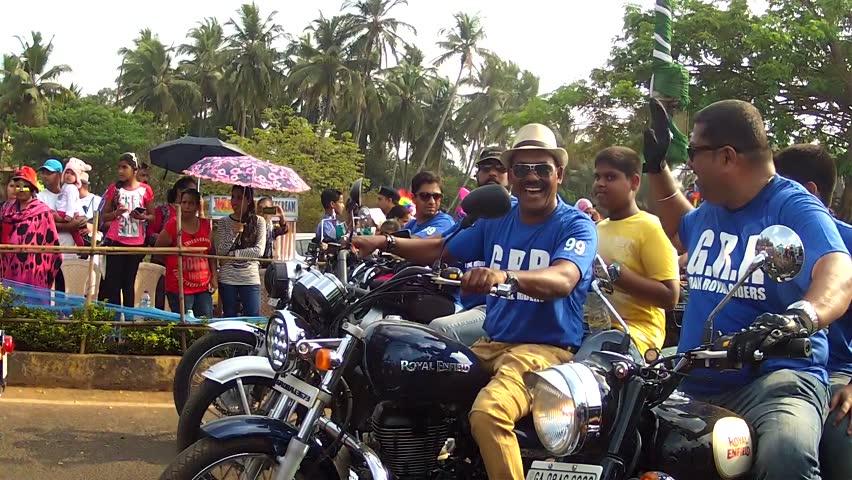 GOA, - FEBRUARY 27: Bikers at the Goa Carnival February 27, 2017 in Goa, India