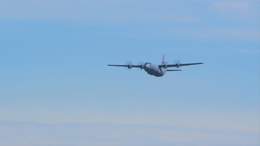 QUONSET, RHODE ISLAND - CIRCA JUNE 2012: Air force C-130 Hercules doing low pass