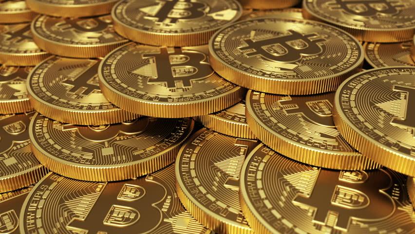 Virtual Coins Bitcoins. Seamless Looping. 3D Animation.