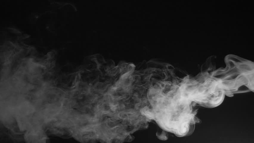 White fume after explosion. Fume dissipating after explosion on black background. Slow motion. #25765538
