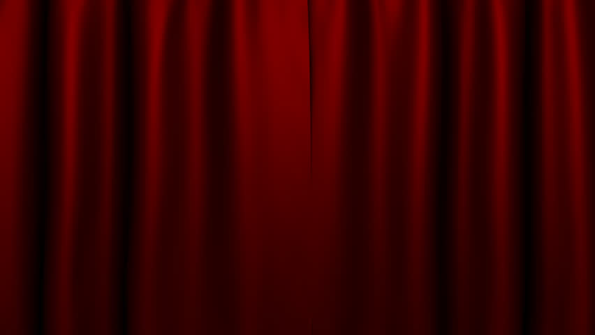 Dark red flowing curtain opens to reveal what's behind it. Includes embedded alpha channel. | Shutterstock HD Video #2577338