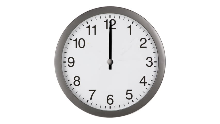 Animated clock counting down 12 hours over 30 seconds. Seamlessly loops. Time lapse.   Shutterstock HD Video #2577593