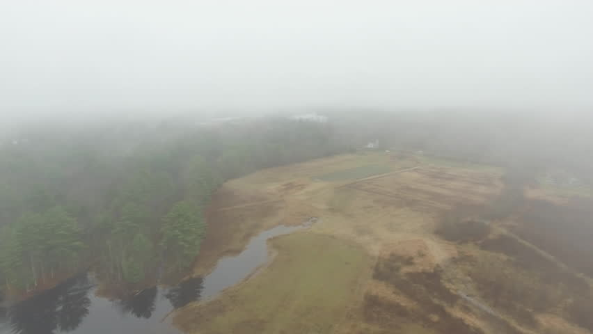 Aerial, foggy New England wilderness