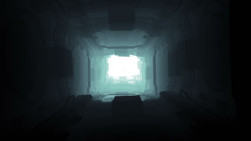 A flight in the endlessly futuristic dark space of the corridor of the tunnel. Futuristic concept