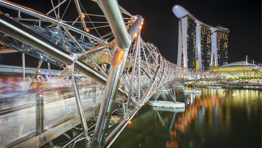 SINGAPORE - CIRCA MAY 2011: People on the illuminated Helix Bridge and Marina Bay Sands Singapore
