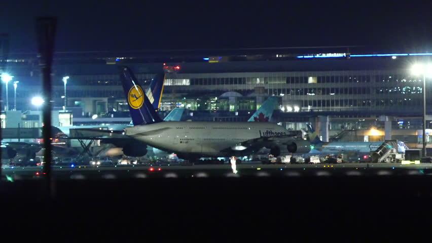 LUFTHANSA AIRBUS A380 at FRANKFURT AIRPORT GERMANY -February 4, 2016
