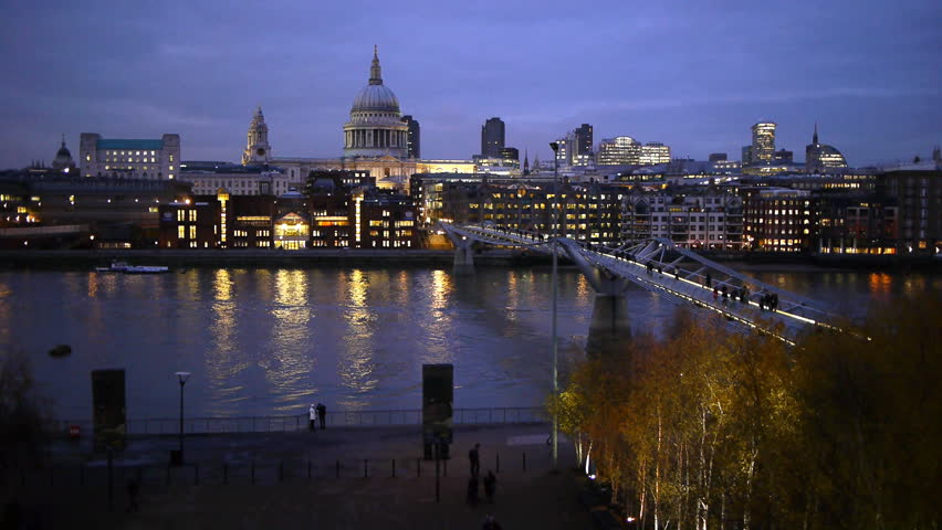 The Millennium Bridge at the Tate Modern and Saint Paul's at dusk.  | Shutterstock HD Video #2585003