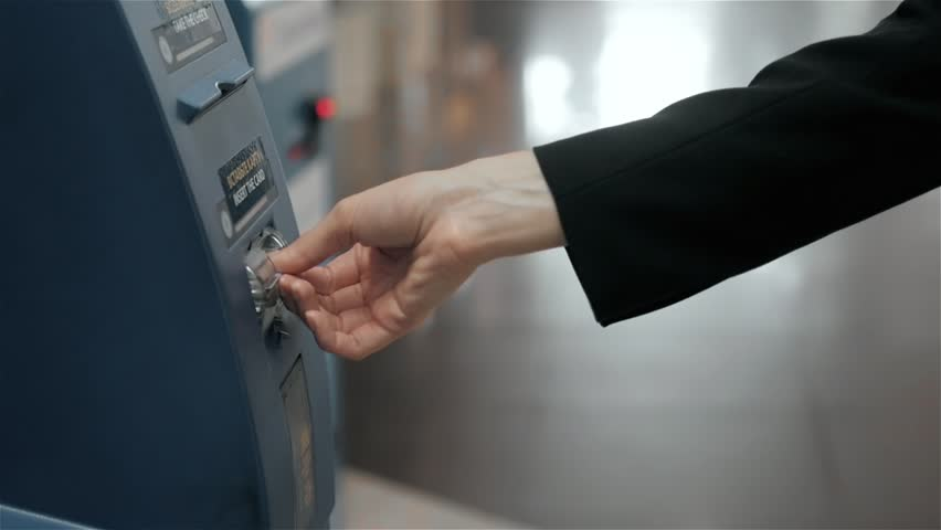 young woman inserting a credit card to ATM, beautiful girl banking, business woman after work in bank, shopping mall Royalty-Free Stock Footage #25864964